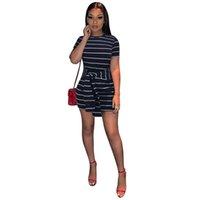 formalen t-shirt kurze ärmel großhandel-Sommer Midi Kleid Frauen Elegante Gestreifte Kurzarm Damen Mini Kleid Frau Formale T-shirt Kleider Frauen Kleidung 2019