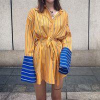 blusas estilo europa venda por atacado-Superaen Moda Listrada Camisa das Mulheres do Estilo Coreano de Algodão Casuais Senhoras Blusas Soltas Manga Comprida Europa Selvagem Outono Novo 2018 J190610