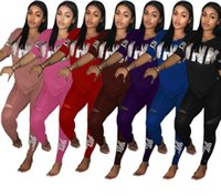 ropa de mujer remache al por mayor-Envío gratis Love Pink Women Chándal T Shirt Tops + Pants Pantalones 2 UNIDS Conjunto PINK Carta Outfit Casual Tshirts Ropa de deporte Ropa traje