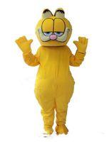 caçoa desenhos animados caráter mascote venda por atacado-Gato amarelo tamanho adulto traje da mascote trajes de caráter dos desenhos animados crianças crianças festa de aniversário mascote do gato frete grátis
