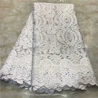 Wholesale african apparel for sale - Group buy Fashionable white apparel lace African party tulle cloth with rhinestones French net fabric for dress VRN252 yards
