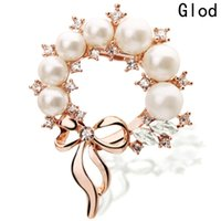 Wholesale bridal clips brooches resale online - Wedding Bridal Imitation Pearl Brooches Pin Flower Rhinestone Scarf Clip Crystal Gift For Women