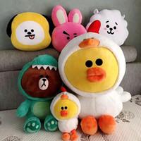 crianças coreanas brinquedos venda por atacado-23 cm ~ 60 cm Bonecas Coreanas Urso Marrom Gigante Bonecos De Pelúcia Dinossauro Tigre Dog Chick Brinquedo De Pelúcia Girafa Brinquedos para Crianças de Aniversário