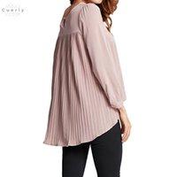 asymmetrische chiffonbluse großhandel-Chiffon Damen Bluse gefaltete beiläufige O-Ausschnitt Langarm Blusas Asymmetrische lose 5Xl Plus Size-Shirt Top mit V-Ausschnitt 2019