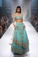vestidos indios hacen al por mayor-Nuevos vestidos de noche indios de dos piezas, una línea única, cuello alto, medias mangas, vestidos de fiesta de encaje azul, ropa de noche, vestido de fiesta por encargo