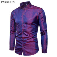 lila mens hochzeitshemd großhandel-Shiny Purple Dot Seidensatin Hemd Männer Marke Penny Kragen Slim Fit Hemden Herren Club Hochzeit Kausal Social Shirt Männlich