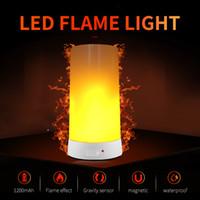 lampara china azul blanco al por mayor-Llama efecto LED luz de fuego impermeable y exterior simulación de modo de flash 3 llama magnética LED luz de carga USB