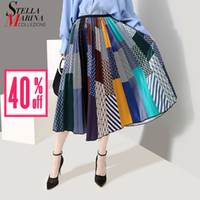 aba928f6f2 2019 Korean Style Summer Multicolor Printed Skirt Elastic Waist A-line  Striped Empire Lady Stylish Casual Long Satin Skirt 4874 Y1904002