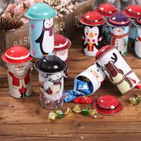 latas de navidad al por mayor-Caja de lata de dulces de Navidad Fiesta Papá Noel Muñeco de nieve Navidad Latas de dulces Caja de dulces para niños Regalo Tarro de hierro Juguete de favor LJJA2997
