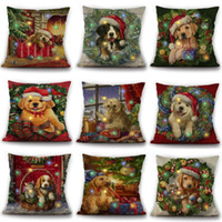 Wholesale pillowcase pets resale online - Pets Linen Christmas Pillow Case Designs Christmas Throw Pillowcase Christmas Sofa Pillowslip Pieces DHL