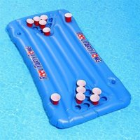 Wholesale game tables resale online - PVC Inflatable Deck Chair Game Floating Row Outdoor Cup Holder Table Tennis Swimming Pool Summer Beach wff1