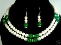 conjuntos de jóias de pedra branca venda por atacado-Novo Estilo venda Quente * 2 cor-2 linha 7-8mm branco pérola verde / vermelho colar de pedra brinco conjunto Moda Wedding Party Jewellery