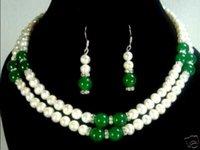 ingrosso gioielli in pietra bianca-nuovo stile Vendita calda * 2 colori- 2 fila 7-8mm bianco perla / rosso pietra collana orecchino set Fashion Wedding Party Jewellery