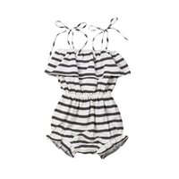 ingrosso bretelle a righe-Toddler Kids Baby Girl Ruffle Body Summer Sleeveless Ruffles Tuta a righe New Body Bretelle One-Pieces Outfit 1-6Y