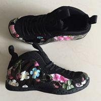 цветочный принт обувь кроссовки оптовых-Дешевые Мужские пенни хардэуэй баскетбольные кроссовки для продажи Черный Цветочный принт новые молодежные детские пены One Pro Posite кроссовки теннис