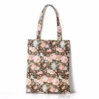 organizador de cosas de mujeres al por mayor-2019 cosas bolsa de lona bolsa de la compra de artículos de dama organizador de gran capacidad decoración de flores bolsas de almacenamiento para las mujeres de impresión Tote # 251818