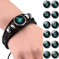 zodiac sign bracelets großhandel-12 Sternbilder schwarz Armband Glas Cabochon Schmuck mit Sternzeichen Punk Armbänder für Männer Geburtstagsgeschenke Dropshipper gewebt
