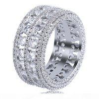 Wholesale new gold ring man stones resale online - Hip Hop New Fashion Iced Out Bling Ring Micro Pave CZ Stone Row Bigger Width Rings Charm For Men Women