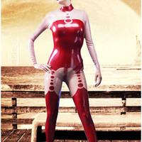 costume rose complet du corps achat en gros de-Catsuit Rouge et Rose Costume De Latex Costume Caoutchouc Joli Full Cover Body Taille XXS-XXL