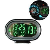 ingrosso monitor della tensione della batteria-12 V / 24 V Digital Auto Car Termometro Auto Voltmetro Voltmetro Tester Meter Monitor Nottilucous Clock Freeze Alert