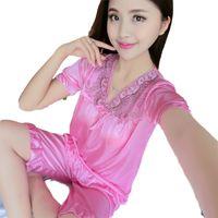 lila silk pyjamas großhandel-Silk Frauen Pyjamas Set Nightsuit Lace Kurzarm Frauen Nachtwäsche Shorts Pijamas Homewear Pink Lila Rot Blau Champagne