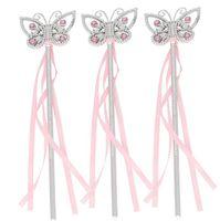 blaue magische kleider großhandel-Gem Butterfly Princess Fairy Wand Mädchen Kinder Magic Bänder Zauberstäbe Streamers Kostüm Kostüm Requisiten Pink Blue Junggesellenabschiedsbevorzugung