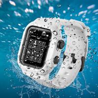 ip68 kılıf toptan satış-Tam Vücut Korumalı Su Geçirmez Kılıf Tam Mühürlü Darbeye Kapak Apple Için Watch Band Watchstrap iwatch serisi 3 42 MM ve serisi 4 44 MM IP68