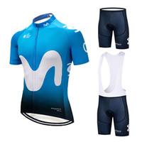 nefes alabilen giysiler toptan satış-Yaz gökyüzü mavi M kısa kollu Bisiklet Forması Set MTB Nefes ve çabuk kuruyan Bisiklet Giyim Askı suit