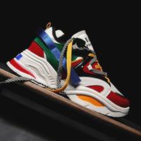 ingrosso scarpe da moda high street-Designer Sneakers Uomo Street Hip Hop Flats Comfortatble Split Leather Fashion Scarpe casual Piattaforma antiscivolo Scarpe bibbia