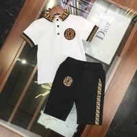 erkek gömlek kontrolleri toptan satış-Fen New Summer Çocuk takım elbise Erkek Tişört takım Polo şort