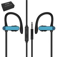 micrófono de gancho para la oreja al por mayor-Auriculares universales de deportes PTM T50 Auriculares con cable estéreo de 3.5 mm gancho para la oreja Cable de auriculares Super Bass auriculares con micrófono para teléfono móvil Android