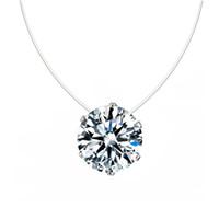 farbige anhänger großhandel-Frauen-transparente Angelschnur Halskette Silber unsichtbare Ketten-Halsketten-Anhänger Strass-Halskette Collier Femme 12 Farbe auswählen