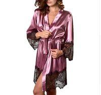 Wholesale hot lingerie kimono for sale - New Hot Sexy Lingerie Silk Lace Black Kimono Intimate Sleepwear Robe Night Gown Black Purple Colors