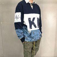 erkek gömleği için yüksek yaka toptan satış-18FW Dikiş Tişört Moda Standı Yaka Yüksek Kalite Uzun Kollu Çiftler Kadınlar Erkekler Tasarımcı Gömlek HFKYTX022