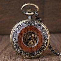 цепочки для мужчин оптовых-Роскошные старинные деревянные автоматические механические карманные часы деревянные один открытый скелет римские цифры кулон цепь мужчины женщины