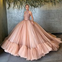 Wholesale Graceful Champagne Beaded Ball Gown Wedding Dresses Halter Neck Sequined Backless Bridal Gowns Plus Size Appliiqued Tulle Vestidos De Novia
