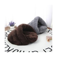 pequeña casa de perro suave al por mayor-Winter Warm Cat Sleeping Bed Fleece Soft Small Dog Bed Sofá Casa a prueba de viento Warm Cat Sleeping Bag M / L