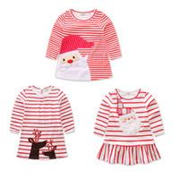 vestidos de xmas venda por atacado-Meninas do bebê de natal veados papai noel vestido dos desenhos animados Crianças tarja vestidos de princesa Xmas crianças traje C2573