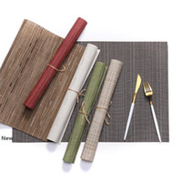 Wholesale wood rectangle table resale online - 9 Colors Rectangle Tableware Pad PVC Western Style Food Mat Non Slip Heat Insulation Placemat cm Table Mat ZZA1213