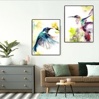 Wholesale colorful wall art paintings for sale - Group buy RELIABLI Hummingbird Prints Colorful Poster Watercolor Animal Painting Wall Art Canvas Painting for Living Room Cuadros Unframe