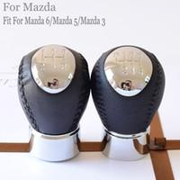 cabezas de cambio de carro al por mayor-Nuevo tipo 5 6 Speed Leather car Accessories Manual Gear Stick Shift Shifter Palanca Palanca Cabeza para Mazda 6 / Mazda 5 / Mazda 3