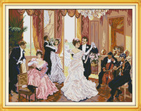 Wholesale dancing paintings resale online - The family party Couples dance home decor painting Handmade Cross Stitch Embroidery Needlework sets counted print on canvas DMC CT CT
