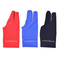 siyah parmak eldivenleri toptan satış-Özel Bilardo Üç Parmak Eldiven Snooker Spor Eldiveni Pamuk Eldivenler Kaymaz Çıkartmalar Elastik Kuvvet Siyah Kırmızı 3 8bh C1