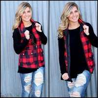 Wholesale girls warm cotton coat resale online - Women Plaid vest down cotton Coat girls Winter Warm waistcoat sleeveless Outwear Zip Up Jacket Vests home clothing S XL AAA1519