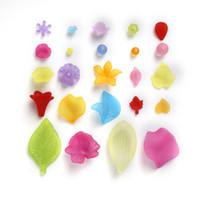 bouchons en caoutchouc acrylique achat en gros de-Haute Qualité En Gros De Mode Mixte Fleur / Feuille Acrylique Givré Spacer Perles Caps Pour DIY Mode Bijoux Collier Bracelet