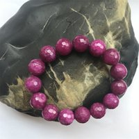 """Handmade 5x8mm Natural Faceted Red Ruby Gemstone Beads Stretchy Bracelet 7.5/"""""""