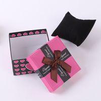 papier bijoux oreiller boîte achat en gros de-Boîtes de montre de mode noir rouge coeur modèle papier carré montre boîtier avec oreiller bijoux présentoir boîte de rangement