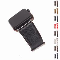 наручные часы кожа оптовых-Роскошный кожаный ремешок для часов для Apple Watch Band iwatch для 38мм 42мм 40мм 44мм Размер ремешков Кожаный спортивный браслет Дизайнерский браслет
