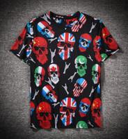 camisa de la cabeza del cráneo 3d al por mayor-Nuevos hombres y mujeres cabeza de cráneo viento bandera británica impresión de cuerpo completo digital 3D cuello redondo camiseta de manga corta