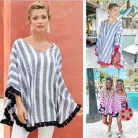 Wholesale hottest maternity clothes for sale - Group buy Women Designer Clothes Women Striped V Neck Cloak Tops Fashion tassel shawl Casual Tees Maternity Women Summer Clothes T shirts Hot TLYP520